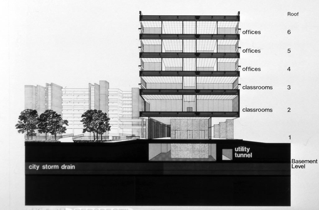 Philip G. Hoffman Hall, Section view. Kenneth E. Bentsen Architectural Papers