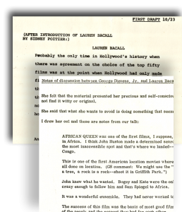 detail from Larry McMurtry's notes, working with Lauren Bacall and George Stevens, Jr., from the Larry McMurtry Papers