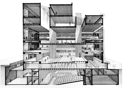 Yale Art & Architecture Building, section view (The Paul Rudolph Archive, Library of Congress)