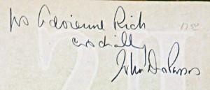 """To Adrienne Rich cordially John Dos Passos"""