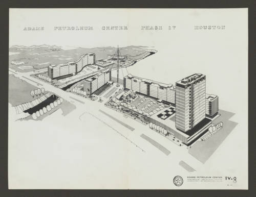Donald Barthelme, Adams Petroleum Center (c. 1955), aerial view  of proposed complex (Donald Barthelme Architectural Papers and Photographs)