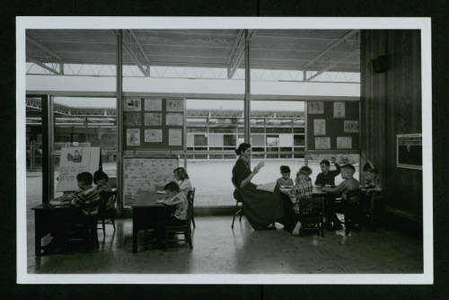 West Columbia Elementary School (1951), view of classroom with teacher and students (Donald Barthelme Architectural Papers and Photographs)
