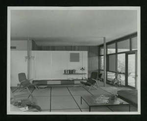Barthelme Residence (c. 1952), living room looking east with parents' bedroom in the background (Donald Barthelme Sr. Architectural Papers and Photographs)