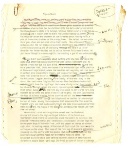 "Page one of ""Pigeon Shoot"" chapter draft from Truck Dance, featuring edits from Donald Barthelme (Olive Hershey Papers)."