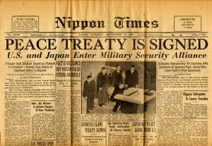 """Peace Treaty is Signed"" - cover of the Nippon Times, September 10, 1951, tucked inside volume one"