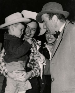 Honorary Mayor Johnny Goya III presents Humphrey Bogart with the key to Fiesta City (1952, UH Frontier Fiesta Collection)