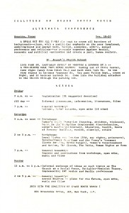 "agenda for the ""Coalition of Grass Roots Women Alternate Conference"" (1977, Marjorie Randal National Women's Conference Collection)"