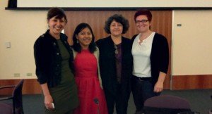 Dr. Maria Cotera (left) alongside panelists Lisa Cruces, Patricia Hernandez, and Dr. Carolina Villaroel