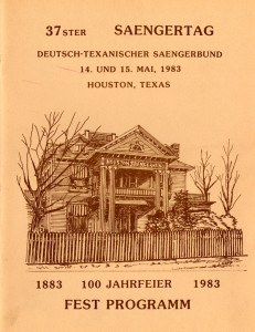Program from the 1983 Texas Saengerfest, held in Houston and also marking the Houston Saengerbund's centennial