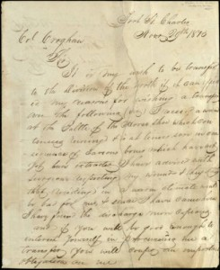 Request for transfer to a unit in the north signed by Sam Houston