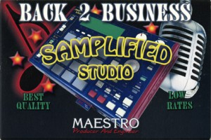 promotional card from the Samplified Digital Recording Studios Records