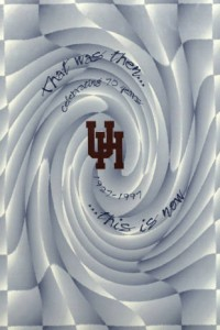 "In 1997 UH celebrated its 70th anniversary, visualized here on the cover of the Houstonian.  ""That was then... this is now."" (Houstonian Yearbook Collection)"