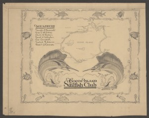 Cocos Island Sailfish Club decorative map, ca. 1934-1935, Cruiser Houston Collection (click thumbnail above for higher resolution)