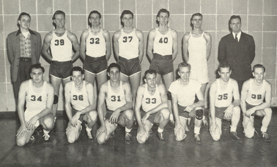 1946: Fresh from his service in World War II, Lewis (#37) begins his playing career with the 1946 Lone Star Conference champion Houston Cougar basketball team. (Houstonian)