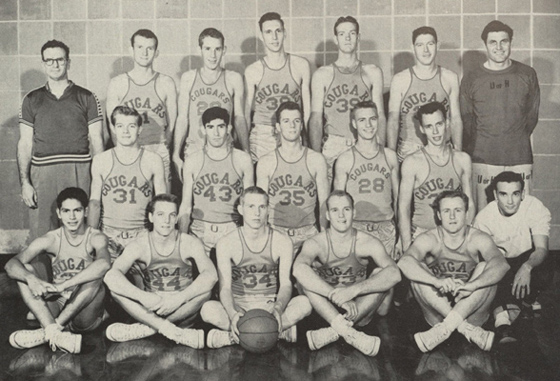 1953: Lewis (back row, far right) joins the Cougars as an assistant coach. (Houstonian, 1954)