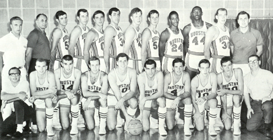 1966: While Warren McVea was turning heads for Coach Bill Yeoman's gridiron Coogs, Lewis (back row, far right) recruits Don Chaney (#24) and Elvin Hayes (#44) were integrating Houston Cougar basketball (Houstonian).   For more on UH and Lewis's role in integrating intercollegiate athletics in the South, see the new book from Robert Jacobus, Houston Cougars in the 1960s: Death Threats, the Veer Offense, and the Game of the Century.