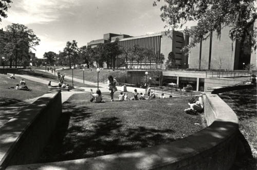 Students lounge outside UC Satellite, circa 1980. Photo courtesy UH Buildings Collection, UH Digital Library.