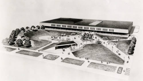 Architectural rendering of University Center with underground annex in foreground. Photo courtesy of UH Buildings Collection, Digital Library.