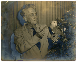 Royal Dixon and bird (December 1956, Royal Dixon Manuscripts)