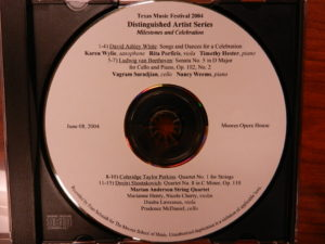 Texas Music Festival Orchestra concert recording, June 8, 2004