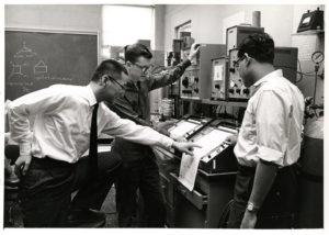 Prof. Kochi and others at work in the lab (undated, Professor Jay K. Kochi Papers)