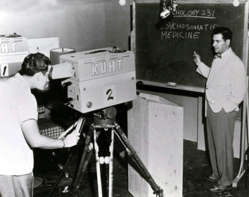 Dr. Richard I. Evans introduced the first UH telecourse, Psychology 231, on June 8, 1953