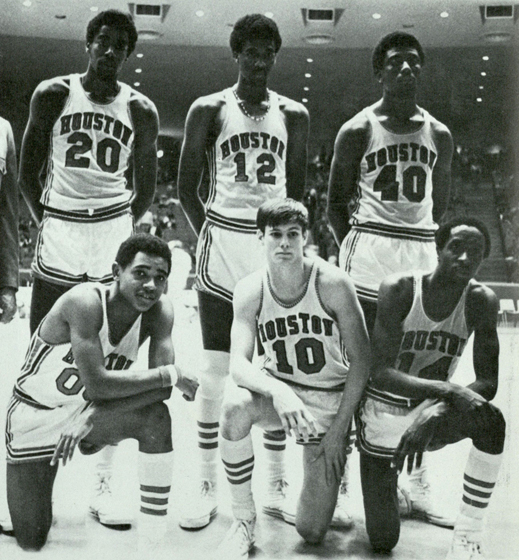 Dwight Jones (#12) and his freshman teammates pause for an impromptu team photo of the Cougar Kittens (Houstonian, 1971)