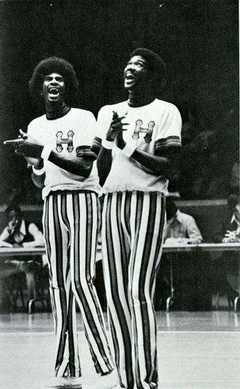"""Sweet"" Lou Dunbar and Dwight Jones share a lighter moment during the pregame (Houstonian, 1973)"