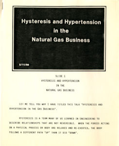 "cover of speech, ""Hysteresis and Hypertension in the Natural Gas Business,"" 1986 (Tenneco Energy History Records)"