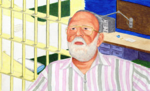 Detail from a painting of Ray Hill, from the Ray Hill Papers
