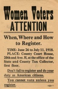 Flier distributed to inform women on how to register to vote