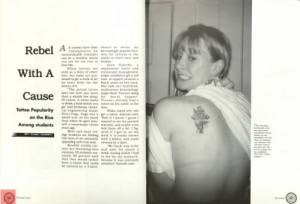Rebel With A Cause:  The 1997 Houstonian explores the rising popularity of tattoos among students. (Houstonian Yearbook Collection)