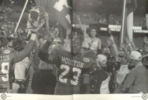 Featured in the 1997 Houstonian is the 1996 Cougar Football team.  Playing most of their home games in the ol' Astrodome, the Coogs finished the season 7-5, winning a share of the C-USA title, and earning a Liberty Bowl berth.  In 1997, however, the team finished a disappointing 3-8. (Houstonian Yearbook Collection)