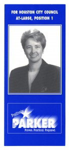 In 1997 Annise Parker won a runoff election for Houston City Council At-Large position 1, becoming  Houston's first openly gay elected official. (Annise Parker Papers)