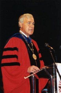 Dr. Arthur K. Smith became the sixth Chancellor of the University of Houston System and the 11th president of the University of Houston on April 1, 1997. He was the first to hold the titles of chancellor and president simultaneously.  (UH Photographs Collection)