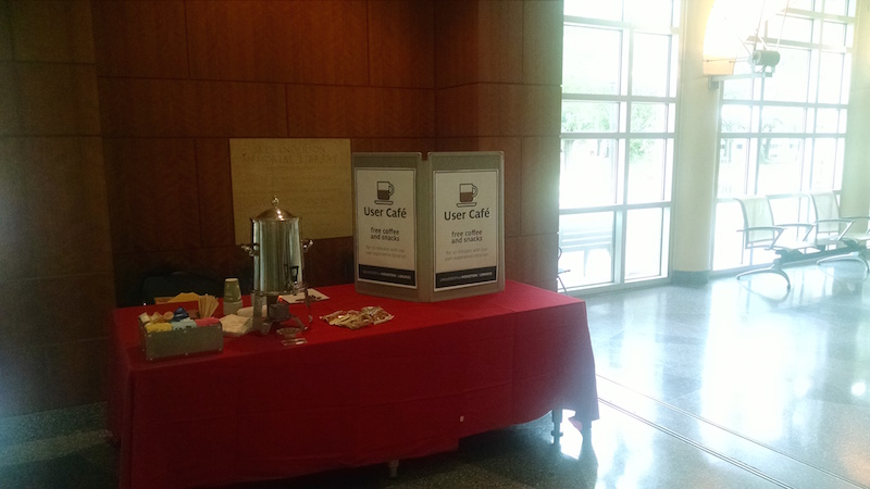 A photo of the User Cafe set up in MD Anderson Library
